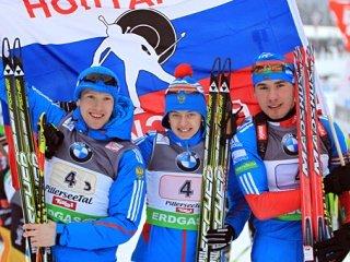 Сборная команда России выиграла золото в смешанной эстафете на третьем этапе Кубка мира по биатлону